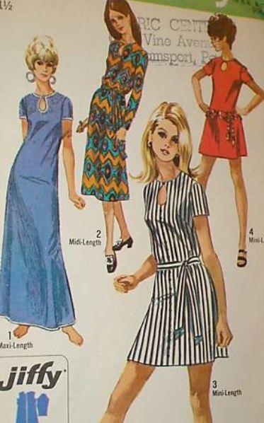 70s multi-skirt length pattern, courtesy of eBay.