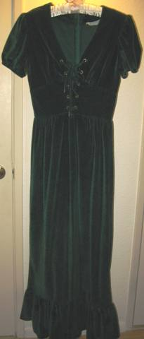 Vintage 1970s forest green velour peasant/hippie maxi dress (from my collection).