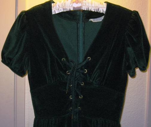 Bodice, vintage 1970s forest green velour peasant/hippie maxi dress (from my collection).