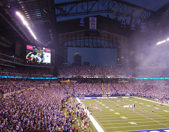 Interior shot of Lucas Oil Stadium in Indianapolis.