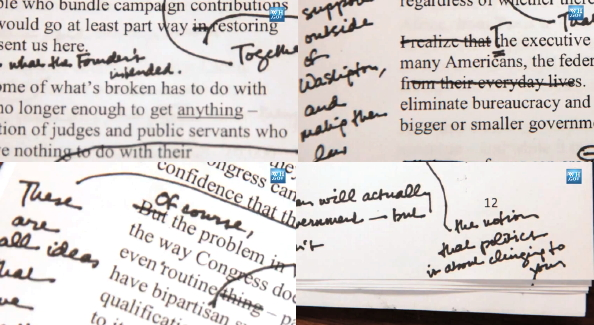 four small snippets of the State of the Union draft with handwritten notes on the front