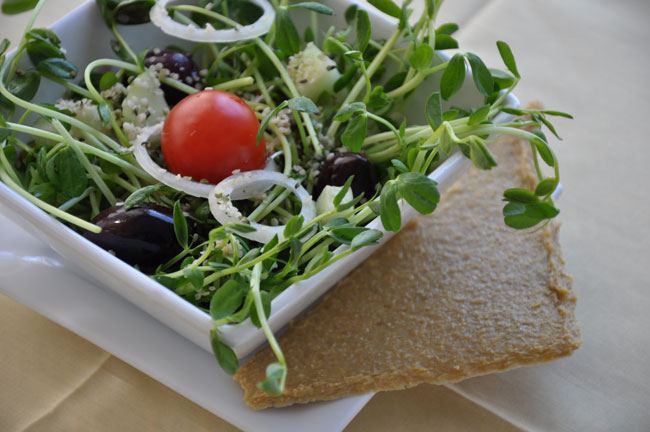 A leafy green salad topped with a tomato in a white bowl, which is resting on a plate with a piece of bread to the side.
