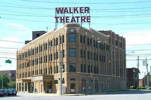 Exterior view of the Madame CJ Walker Theater building in Indianapolis, Indiana.