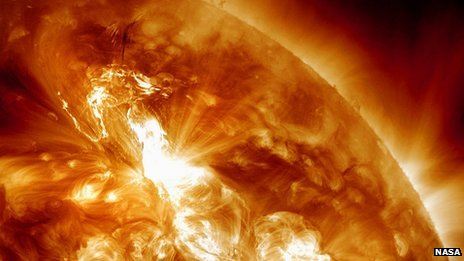 Image of solar flare erupting from the sun
