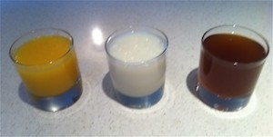 three glasses of gelatine protein drinks from left to right: with orange juice, with skim milk, and with beef broth.