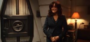 President Laura Roslin, giggling.