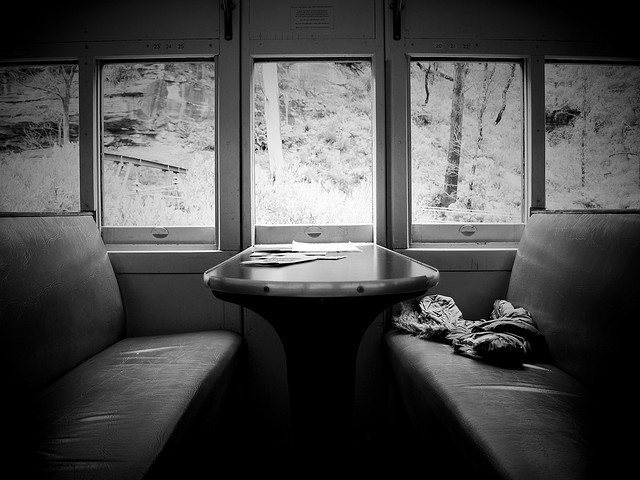 Empty booths, winter windows