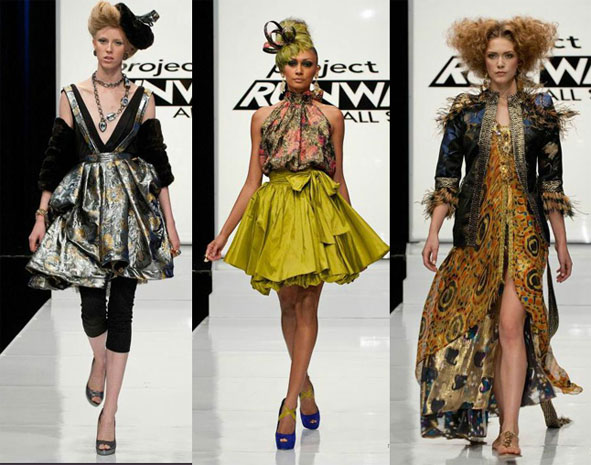 Three models wearing designs from Project Runway All Stars episode 7.