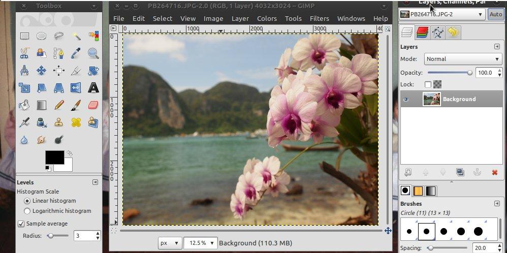 GIMP Photo Editing Software Screenshot