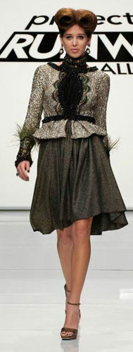 A model wearing a design from episode 7 of Project Runway All-Stars