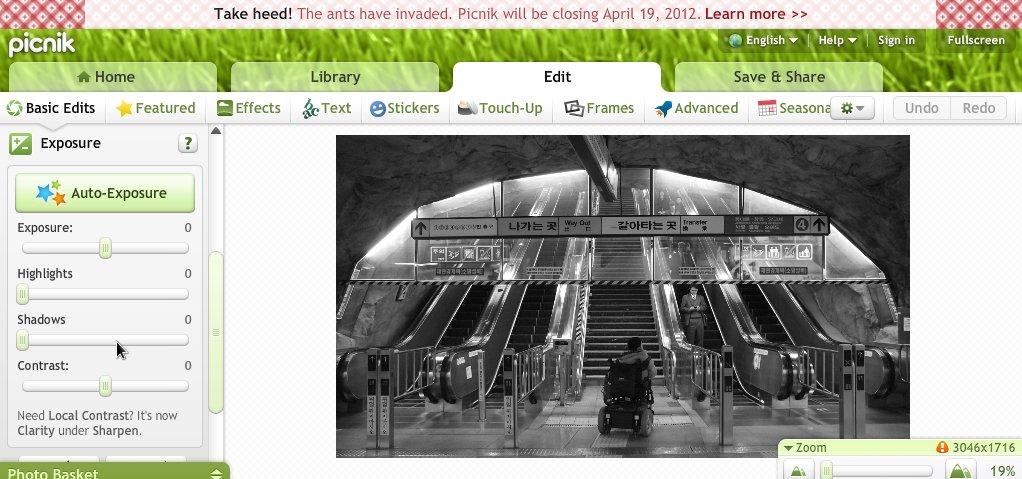 Screenshot from Picnik photo editing website.