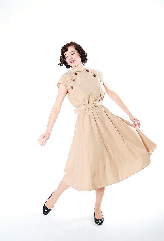 Vintage 1980s Leslie Faye khaki day dress
