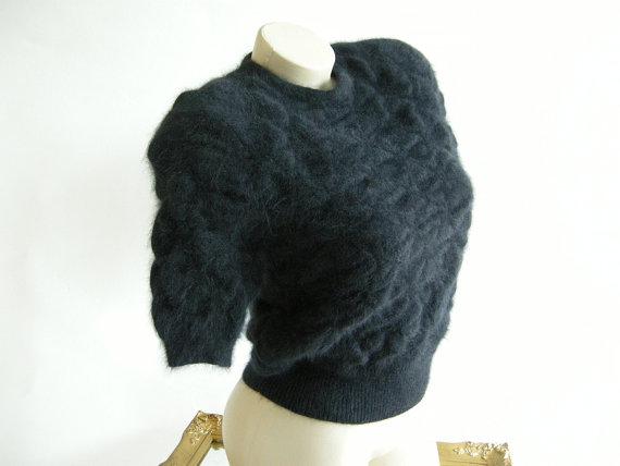 Vintage 1980s black angora sweater