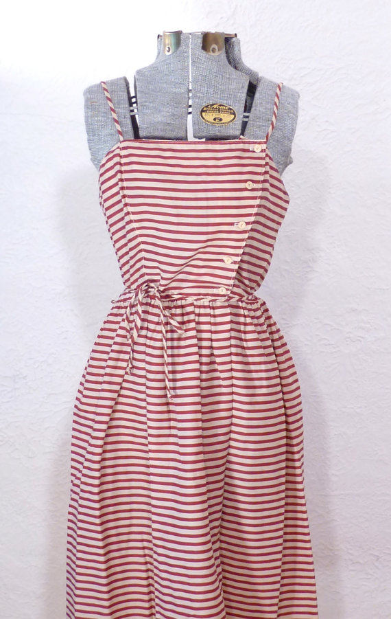 Vintage 1980s red and white stripe sun dress