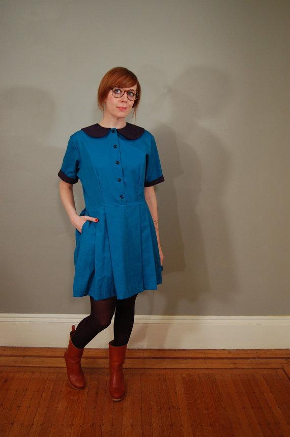 Vintage 1980s round collar girly dress
