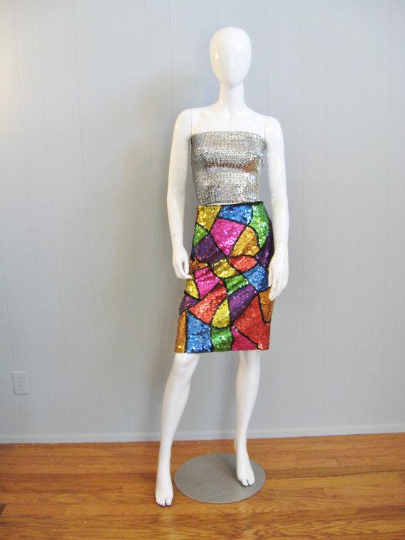 Vintage 1980s sequin colorblock skirt