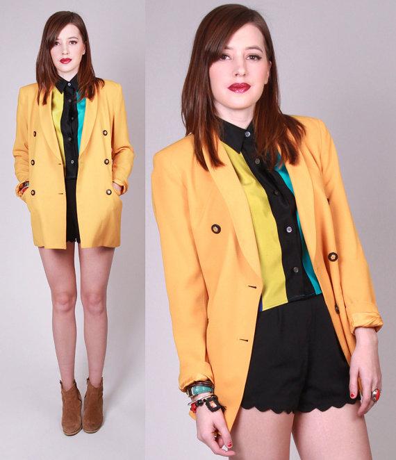 Vintage 1980s yellow ladies suit jacket