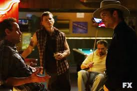 boyd, devil, johnny and raylan in johnny's bar