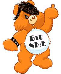 "Manipulated image of a Care Bear, giving the middle finger, wearing a leather studded bracelet and with ""Eat Sh!t"" written on its stomach."