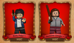 Screencap of Lego Harry Potter and Hermione figures from Lego website