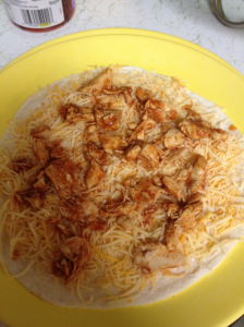 Tortilla with cheese and chicken