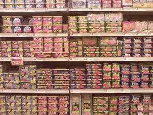 A big wall full of spam cans.