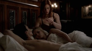 Sage accesses Rebekah's mind as she and Damon lie in bed