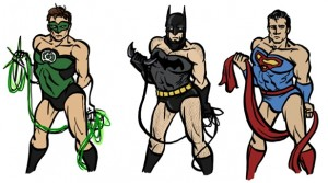 Coelasquid's rendition of cross-dressing Green Lantern, Batman and Superman.