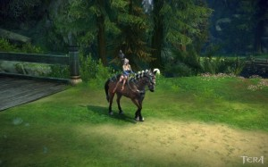 A Tera character sits sidesaddle on a horse
