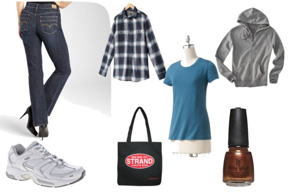 Polyvore image of jeans, t-shirt, flannel, hoodie, sneakers, tote bag, and nail polish