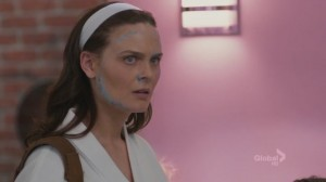 A screencap from the tv show Bones of character Brennan looking extremely disturbed