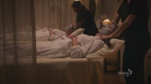 A screencap from the TV show Bones where characters Angela and Brennan lie on massage tables in a spa