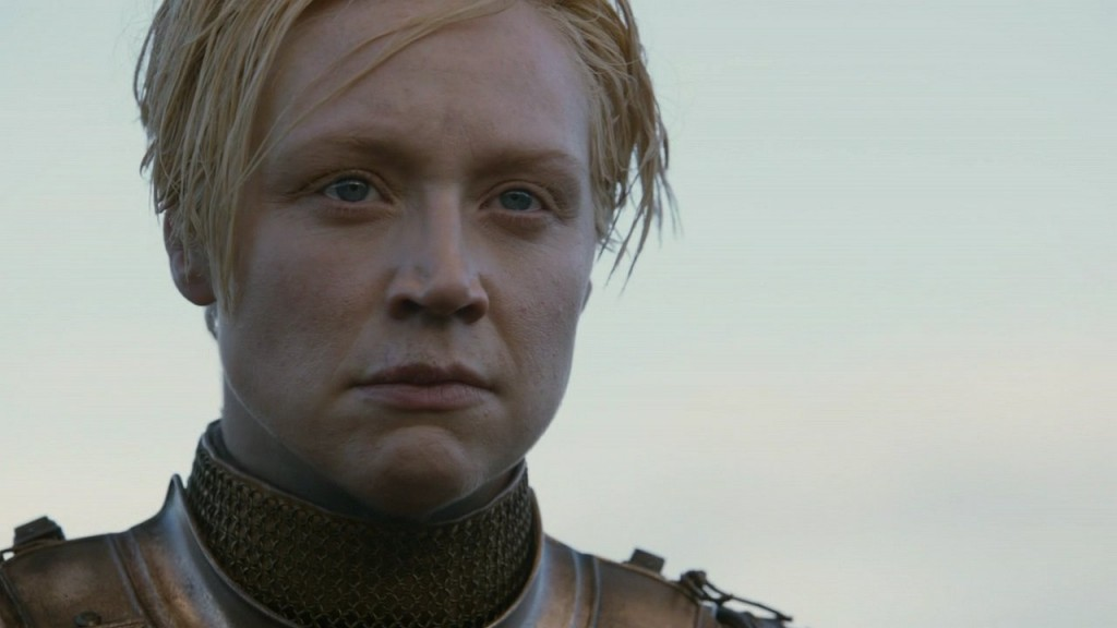Close up of Brienne after she takes off her helmet