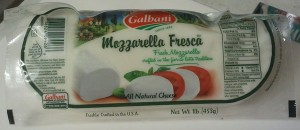One pound of packaged fresh mozzarella cheese.