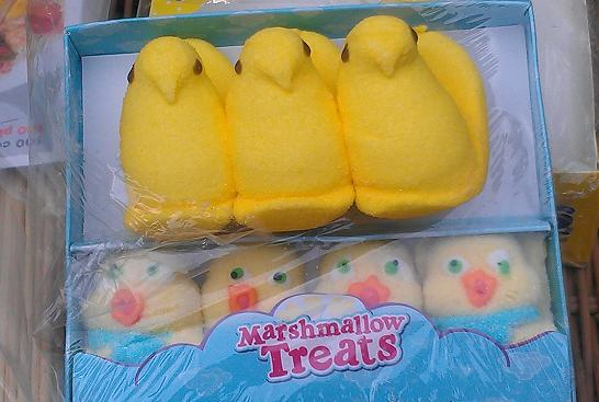 Off-brand peeps with their American cousins.
