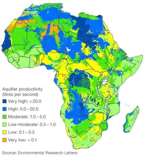 Map of Africa showing amount of water in underlying aquifers