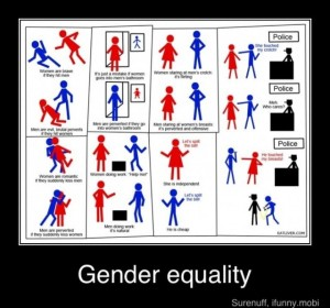 Get it?  Men are constantly fighting discrimination!  And yet it's the women that want equality?  Get it!  They are dumb!