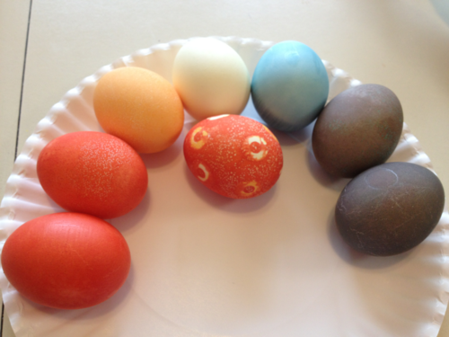 8 eggs dyed with Kool-Aid