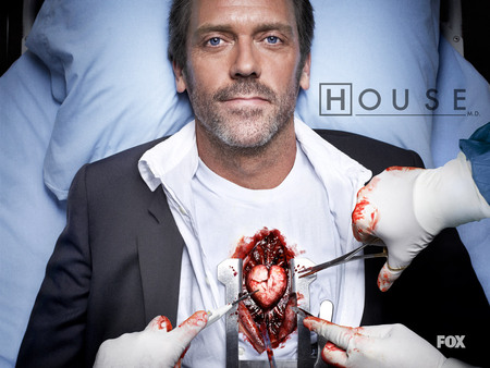 Surgery is being performed on Dr House and inside we see a heart.