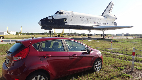 Ford Fiesta In Front of Shuttle