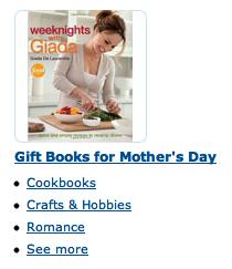Screencap of Amazon.com's Gift Books for Mother's Day categories - Cookbooks, Crafts & Hobbies, Romance