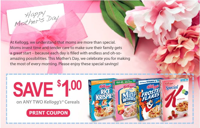 coupon from Kellogg's for $1 when you buy two boxes of cereal