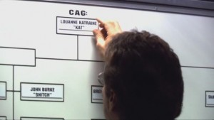 "Adama put's Kat's name in the position labelled ""CAG"" on a white board."