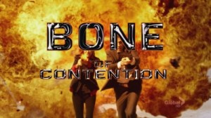 "A screenshot from the show Bones: an explosion with two people in front of it and the text ""Bone of Contention"""