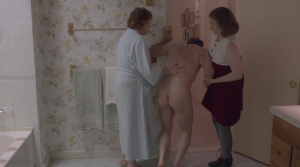 Hannah and her mother help her father after his shower sex accident