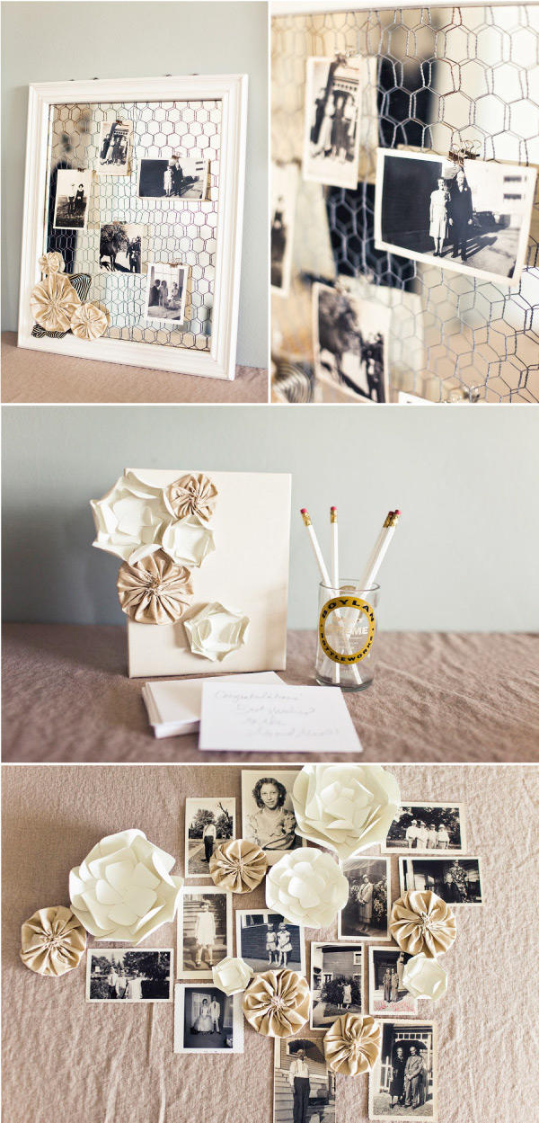 three photos of picture displays - one with chicken wire in a frame and photos cloths-pinned to it, one with flowers on a canvas next to a pencil jar, one with photos on a wall amongst handmade paper flowers