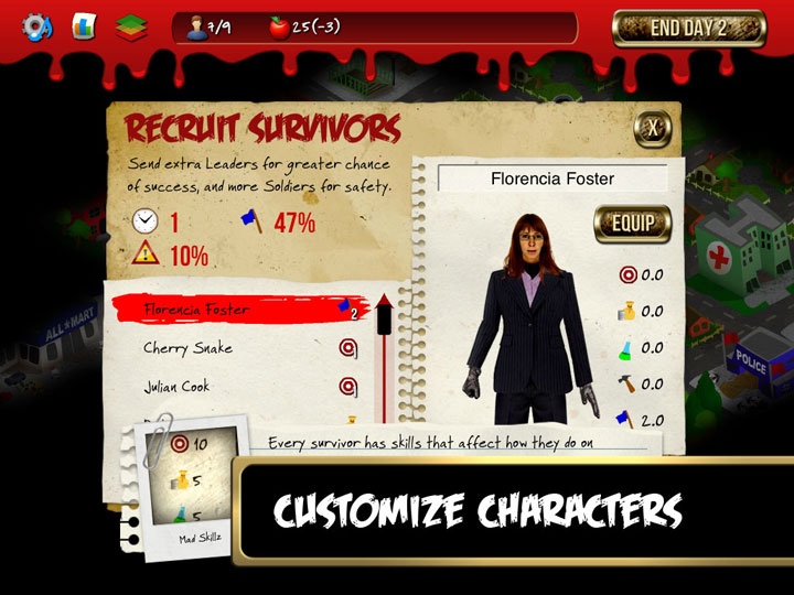 """Rebuild screenshot of the character customization screen. Text reads """"Customize characters."""""""