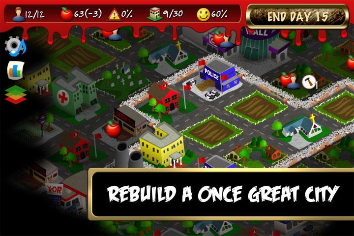 Screenshot of city view in mobile game, Rebuild