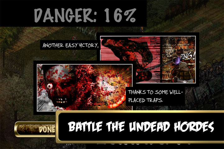 """Screenshot of Rebuild shown after a zombie attack. Text reads """"Battle the undead hordes"""""""