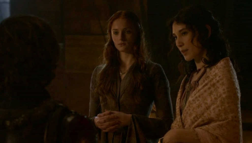 Sansa and Shae in the Throne Room, talking to Tyrion.